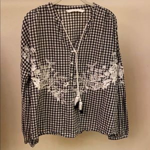 Zara gingham blouse with tassel tie front